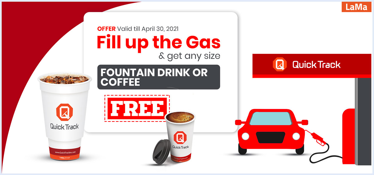 Free Fountain drink or Coffee while filling up the gas with Quick Track