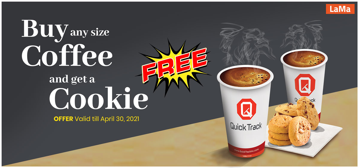 Buy any size Coffee and get a Cookie for free